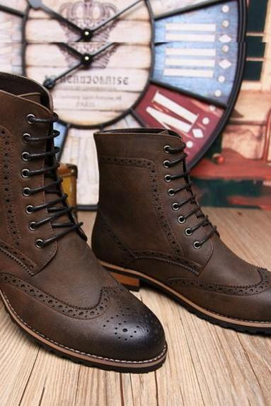 Handmade men brown Military lace up boots, Men high ankle Combat boot