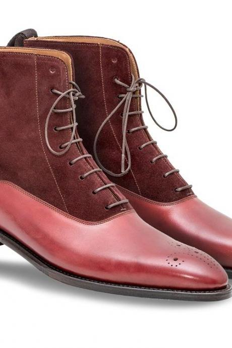 Handmade men Burgundy color suede and leather ankle boots, Men's Brogue boot