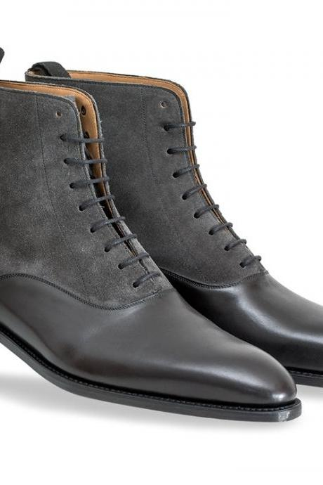 Handmade men black and gray ankle leather boot, Men's two tone suede boots