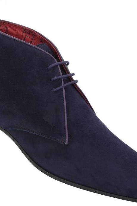 Handmade Men Blue Chelsea Suede Leather Boot , Men's Ankle High Suede Boots