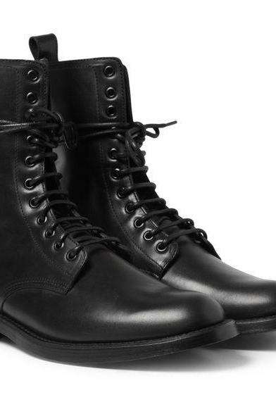 Handmade Men Combat Leather Boots, Men's Military Style LaceUp Boot