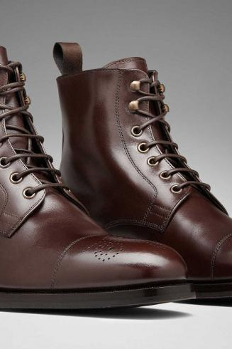 Handmade men dark brown formal boots, Men's lace up ankle leather boot