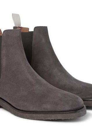 Handmade men dark gray color suede boots, Men crepe sole boot