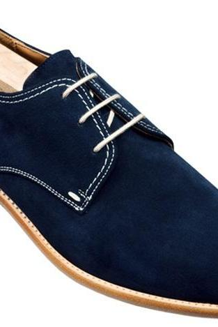 Handmade Men Derby Blue Leather Shoes, Men's Stylish Suede Casual Shoe