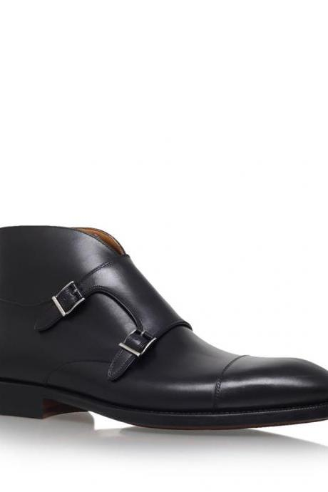 Handmade men double monk strap chukka boots, Men black ankle leather boot