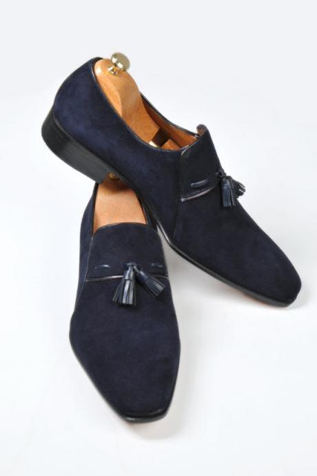 Handmade men dress suede leather moccasins shoes, Men's Navy blue shoe