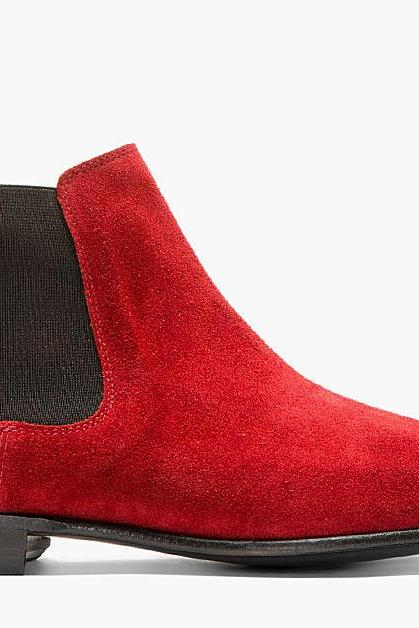 Handmade men Red color suede leather boots,Men's Chelsea ankle boot