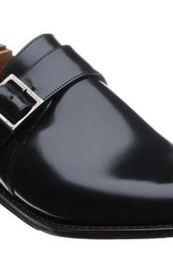 Handmade Men Black Monk Strap Leather Shoes, Men's Fashion Buckle Shoe
