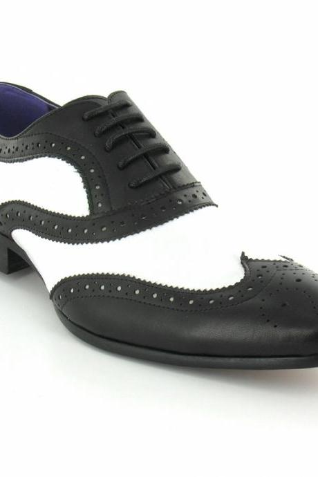 Handmade Men Black And White Leather Shoes, Men's Formal Dress Shoes
