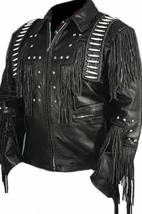 Leather Skin Men Black Cowboy Leather Fringes Western Geuine Real Leather Jacket
