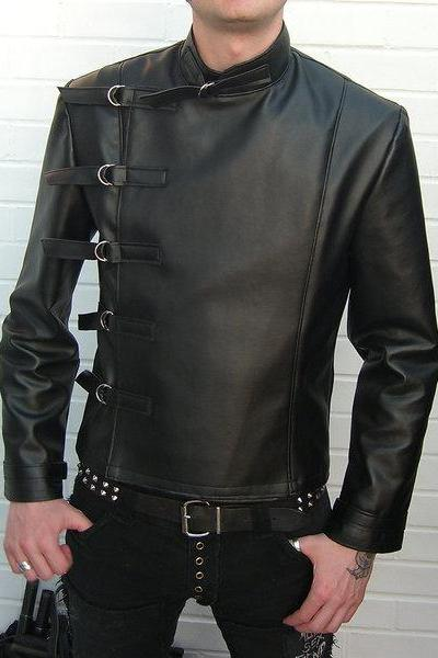 Leather Skin Men Black Military Genuine Real Leather Jacket with Straps Closure