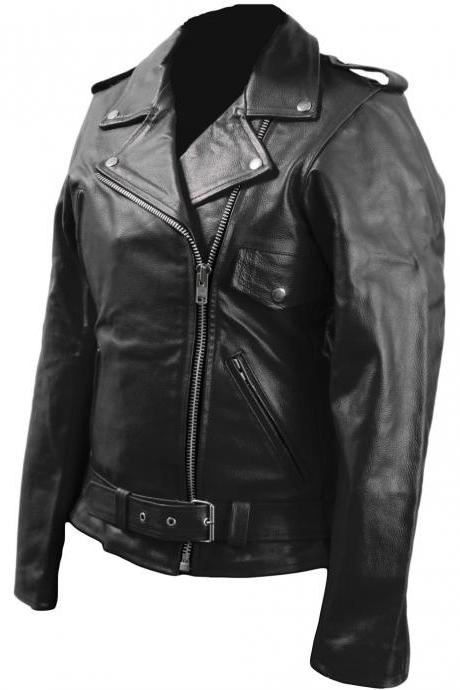 Leather Skin Women Black Brando Biker Motorcycle Genuine Real Leather Jacket