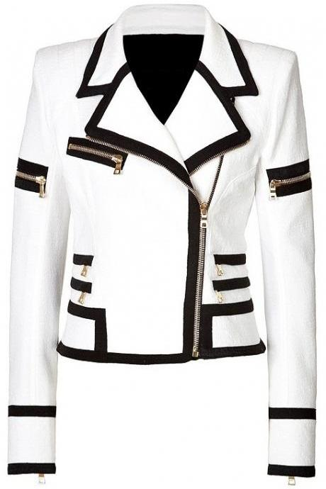 Women White Genuine Handmade Brando Leather Jacket Black Borders and Gold Zipper