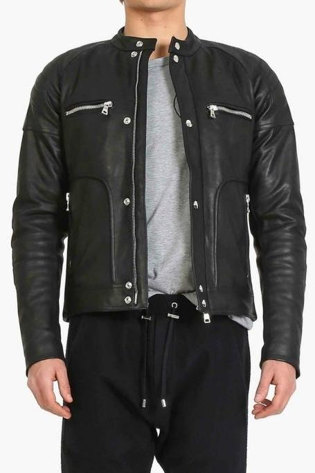 Men Black Authentic Cow Skin Front Button Flap Zipper Leather Jacket