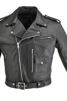 Men Black Brando Belted Biker Motorcycle Authentic Cow Skin Leather Jacket
