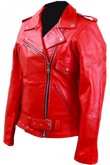 Women Red Brando Belted Leather Jacket with Front Chest Pocket