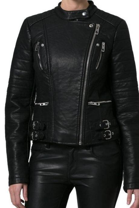 Leather Skin Women Black Handmade Quilted Brando Leather Jacket