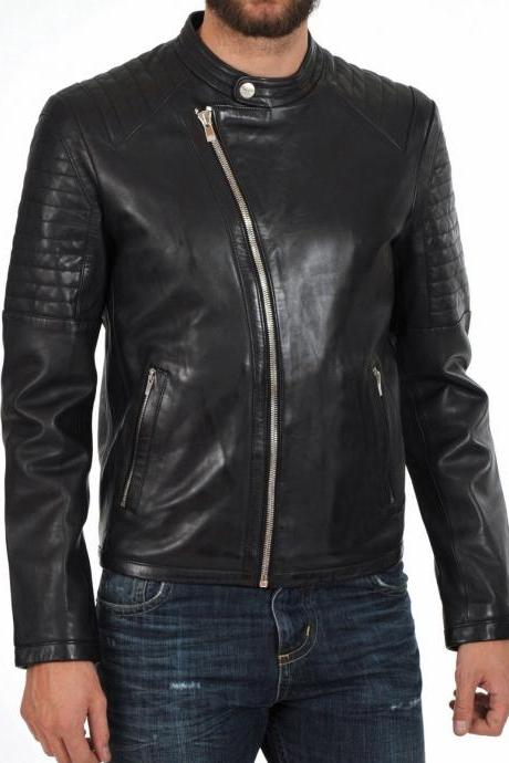 Leather Skin Men Black Shoulder Quilted Brando Cowhide Cow Skin Leather Jacket