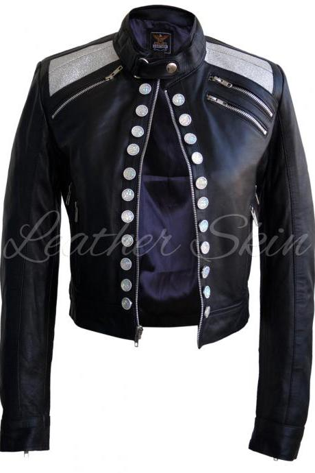 Leather Skin Women Black Party Glitter White Buttons Leather Jacket