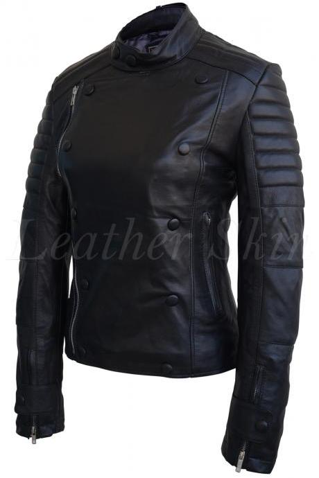 Leather Skin Women Black Military Sleeve Padded Brando Genuine Leather Jacket