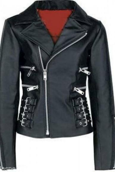 Leather Skin Women Black Belted High Quality Leather Jacket with Red Lining