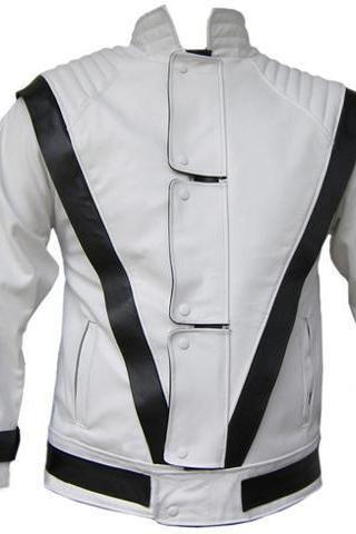 MJ Thriller White w Black Stripes Genuine Leather Jacket