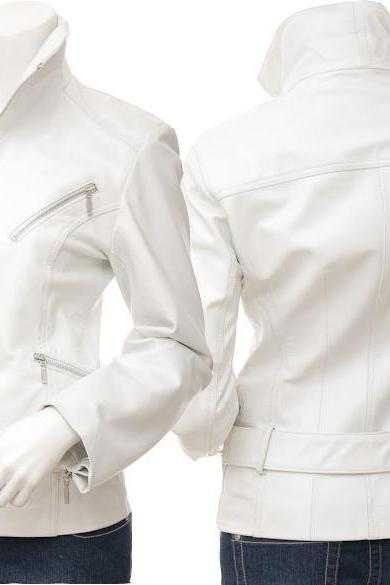 NWT Hot White Angle Women Ladies Belted Premium Leather Jacket w stylish pockets