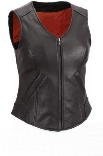 NWT Women Ladies Genuine Black with Red Lining Gun Club Premium Leather Vest