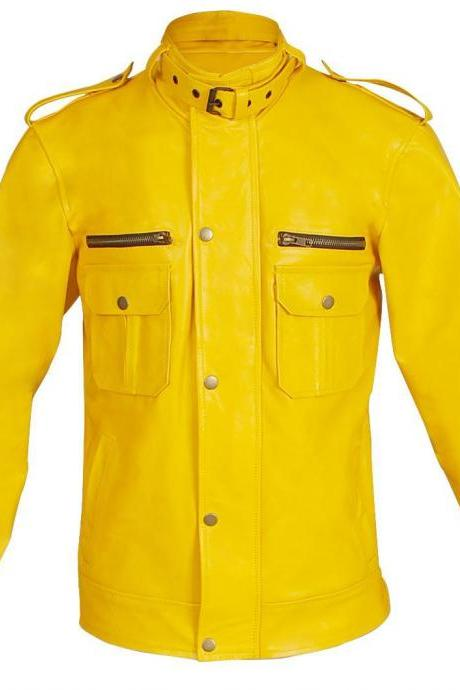 NWT Bright Yellow Unisex Fashion Stylish Sexy Premium Genuine Leather Jacket