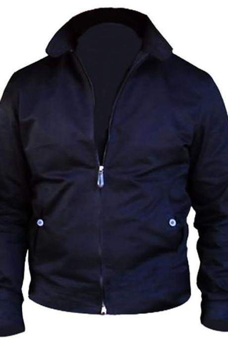 Leather Skin Men Harrington Blue Jacket