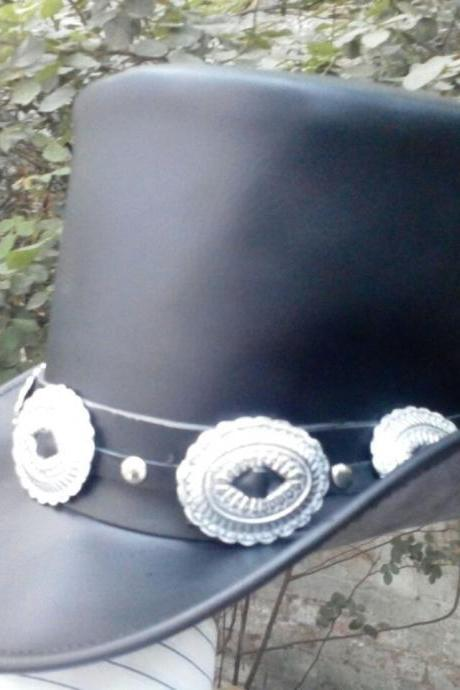 Handmade Genuine Black Leather GUNS N ROSES SLASH Style Mens Top Hat