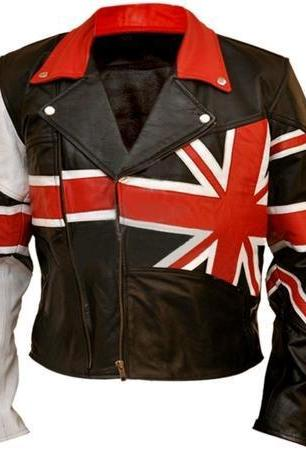 NWT Union UK Flag Patriotic Black Premium Genuine Real Leather Jacket