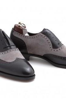 Men Black Gray Wingtip Brogue Handmade Leather Shoes