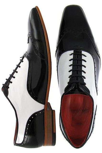 Men Black White Brogue Handmade Genuine Leather Shoes