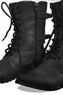Men Black Military Genuine Leather Boots