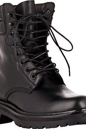 Men Black Military Lace up Ankle Genuine Leather Boots