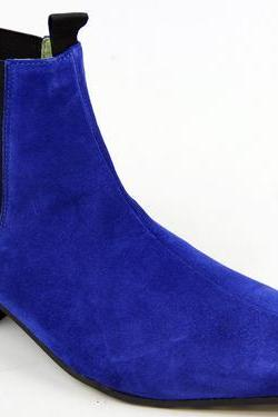 Men Blue Chelsea Suede Ankle Leather Boots with Cuban Heel