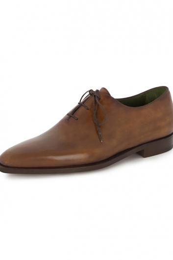 Men Brown Formal Genuine Handmade Leather Shoes with Laces