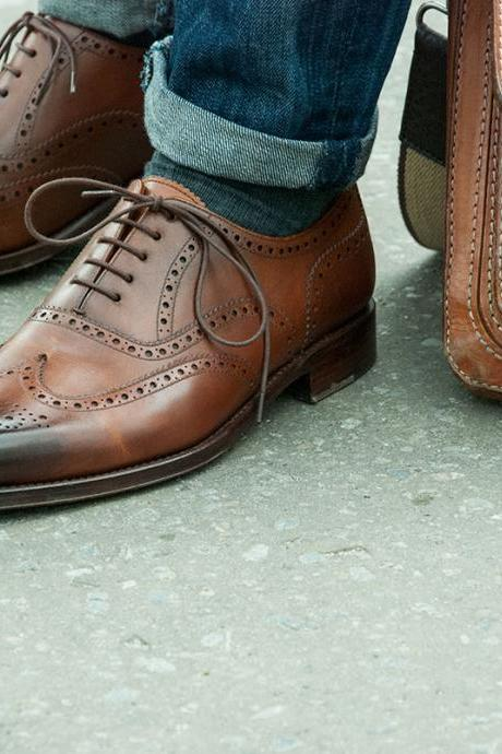 Men Brown Brogue Wingtip Genuine Leather Shoes