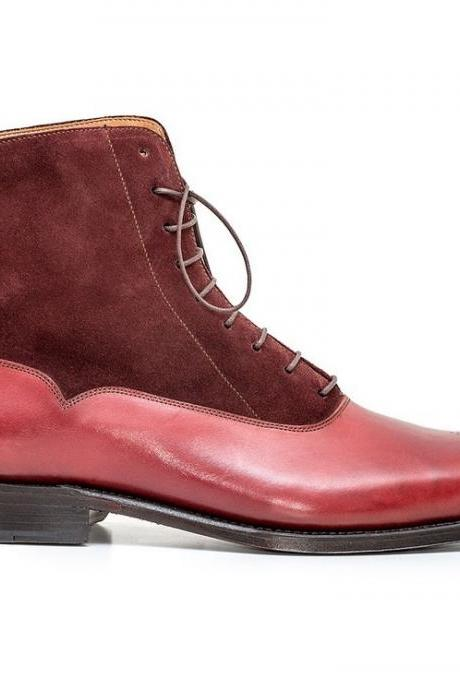Men Brown Single Monk Handmade Genuine Leather ShoesMen Red Burgundy Brogue Genuine & Suede Lace Up Leather Boots