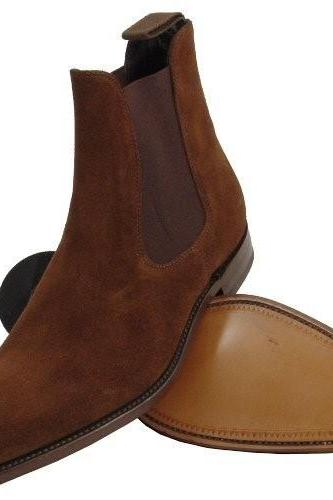 Men Brown Chelsea Suede Leather Boots with Genuine Leather Outsole