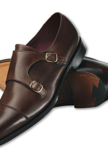 Men Brown Monk Genuine Leather Shoes
