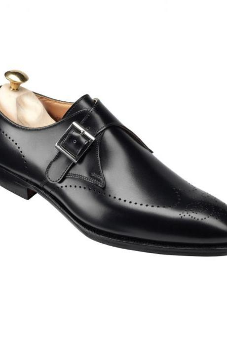 Men Black Formal Monk Brogue Genuine Leather Shoes