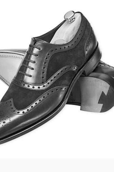 Men Black Brogue Wingtip Suede & Genuine Leather Shoes