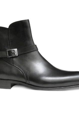 Men Black Jodhpurs Zipped Genuine Leather Boots