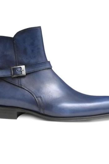 Men Blue Jodhpurs Zipped Genuine Leather Boots