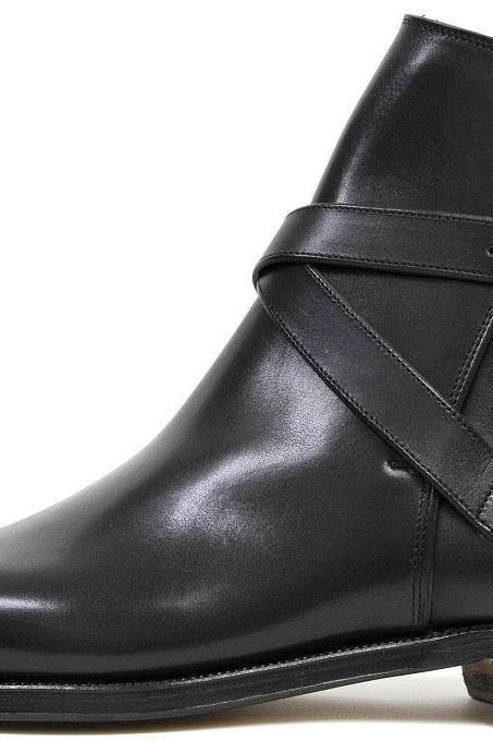 Men Black Monk Strap Ankle Genuine Leather Boots