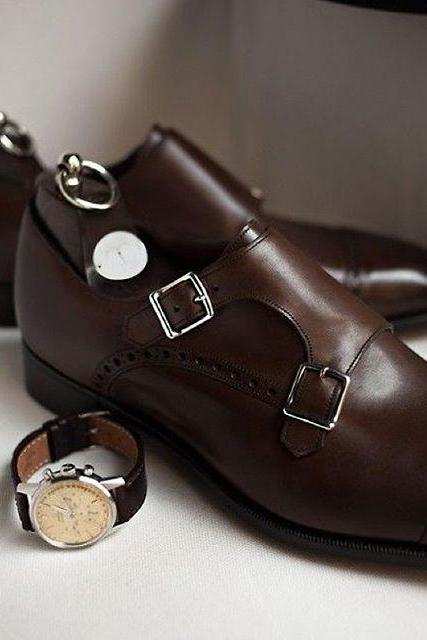 Men Brown Double Monk Brogue Genuine Leather Shoes