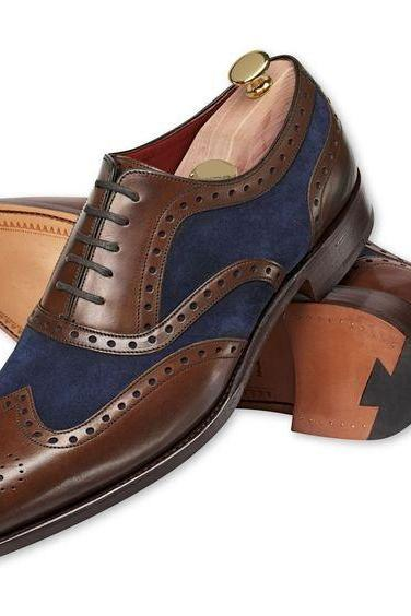Men Brown Brogue Wingtip Genuine Leather Shoes with Blue Suede