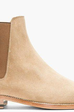 Men Beige Chelsea Suede Leather Boots